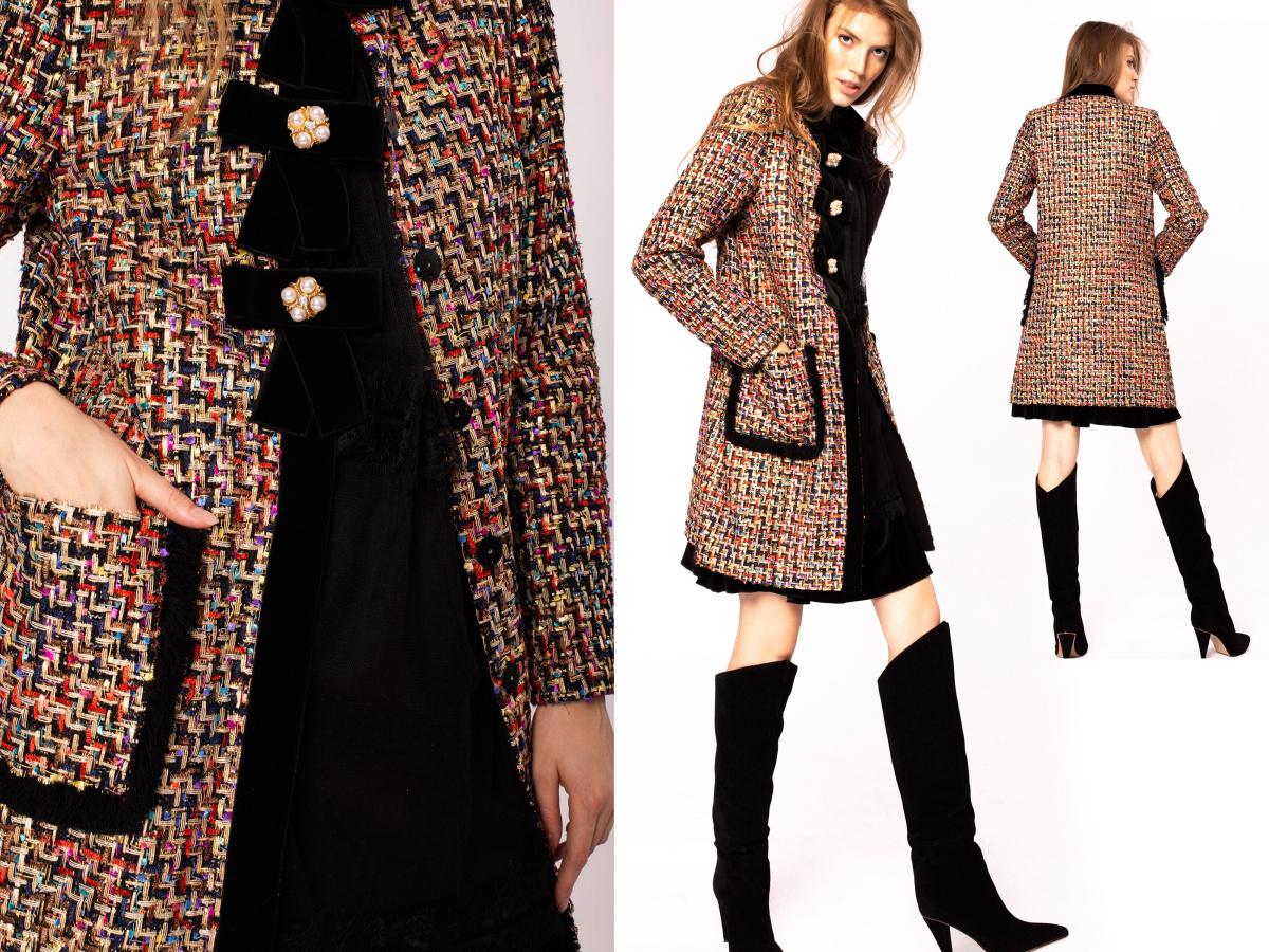 Elegancki płaszcz z dużymi kieszeniami