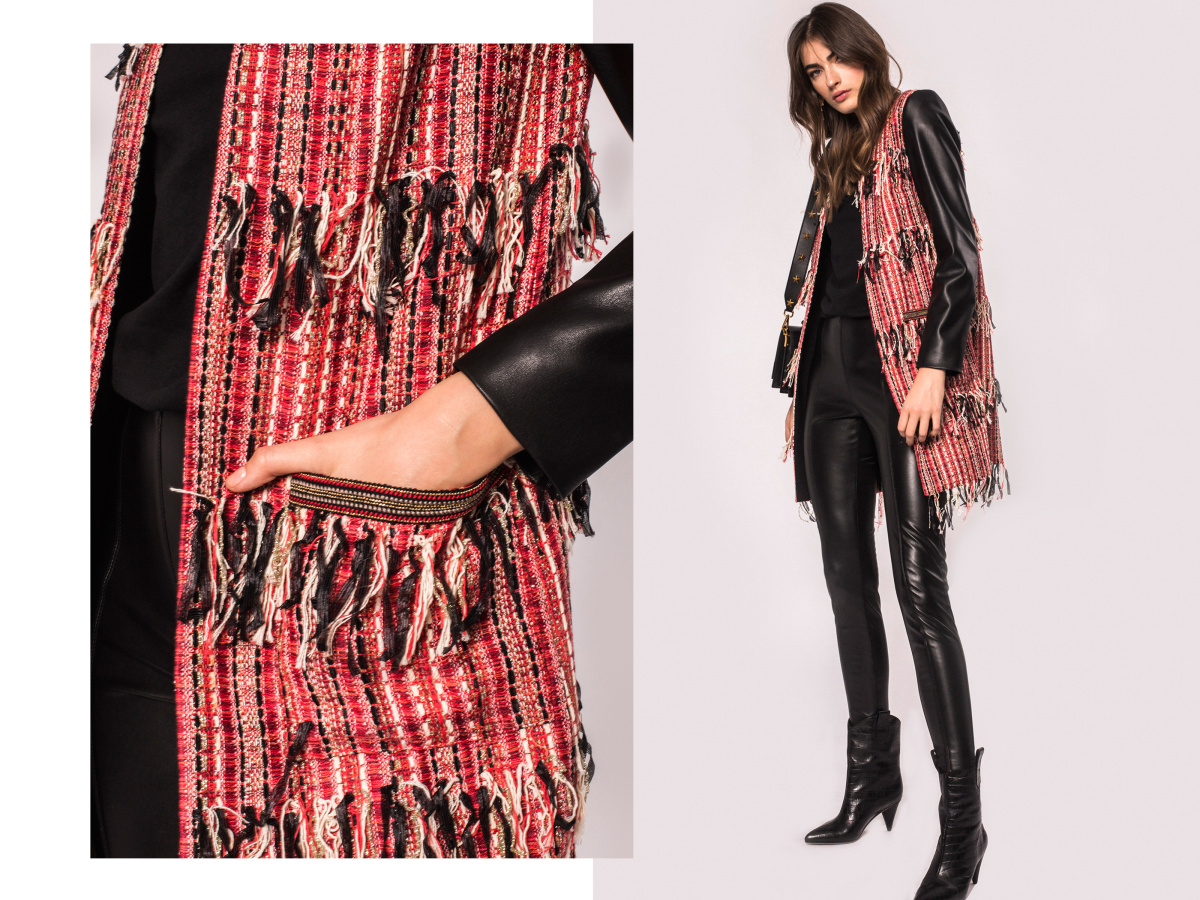 Mixed pattern fringed jacket