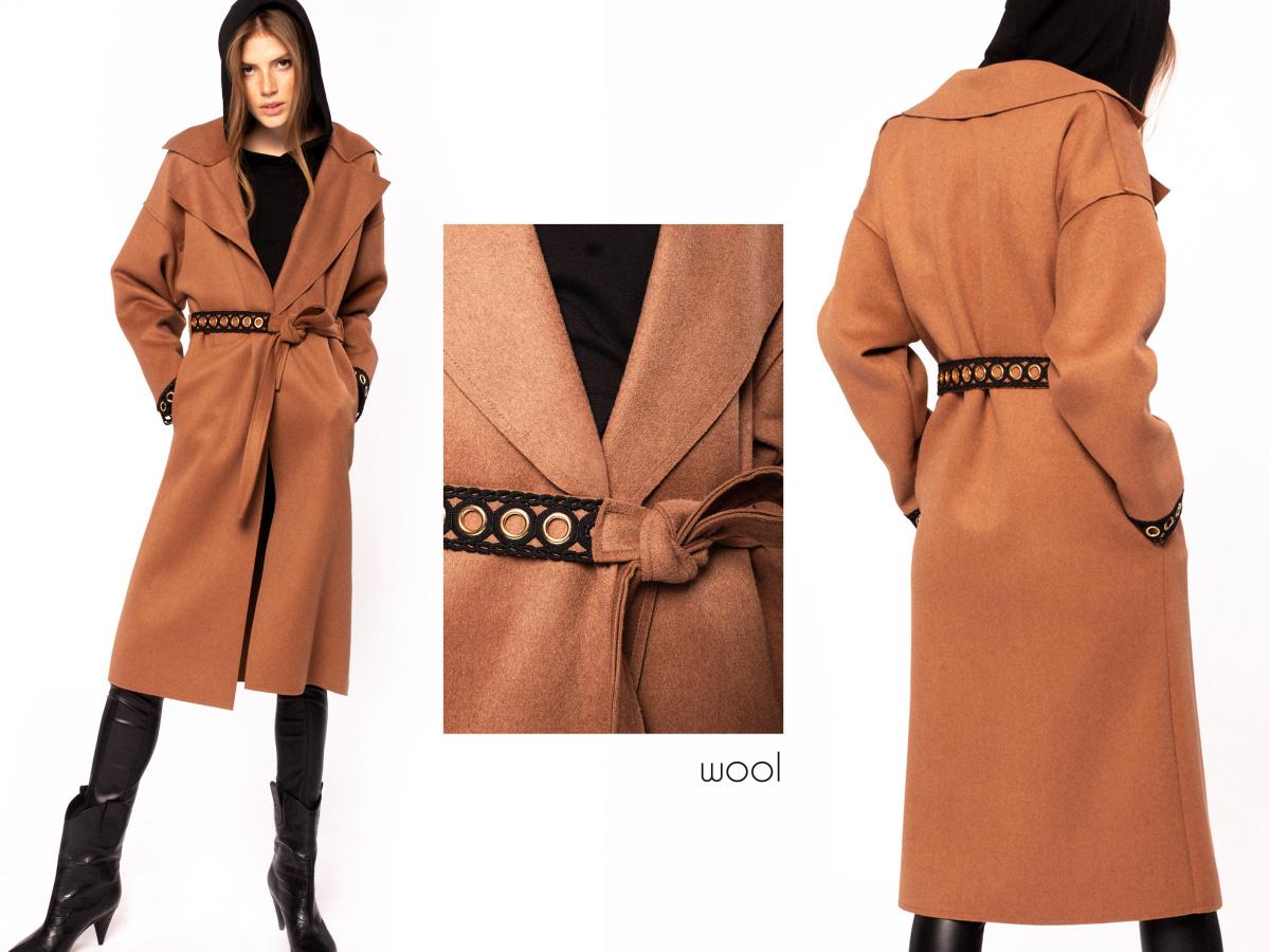 Metallic insert wool overcoat