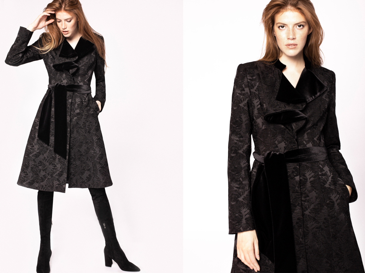 Velvet lapel brocade overcoat