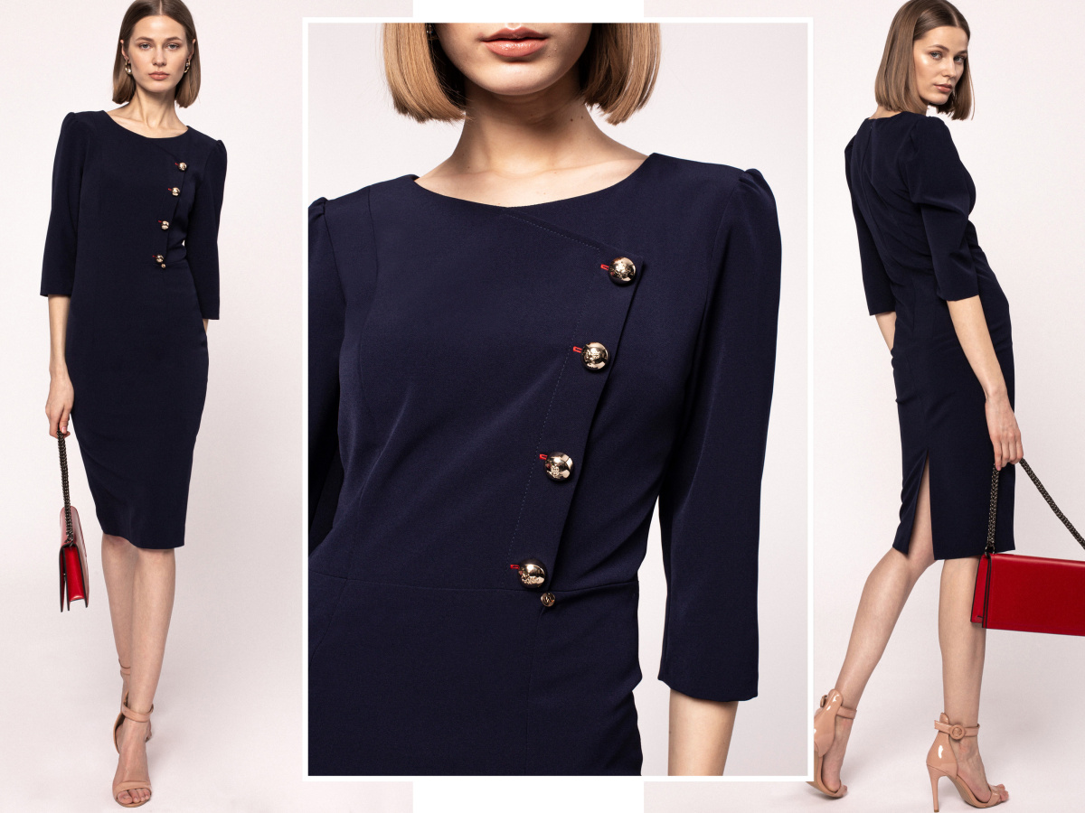 Metallic buttons sheat dress