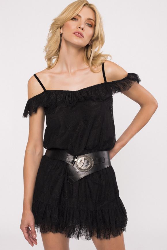 Krótka koronkowa sukienka z falbankami