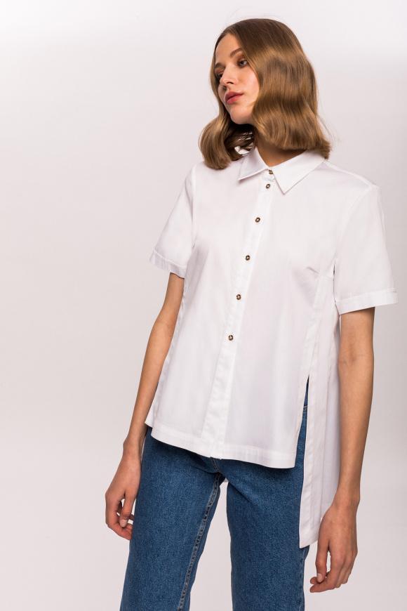 Asymetryczna koszula z krótkim rękawem