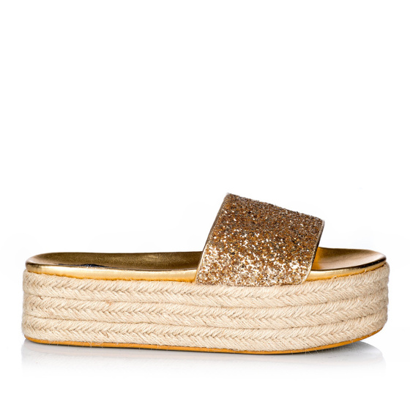 Sandały espadryle na koturnie z brokatem