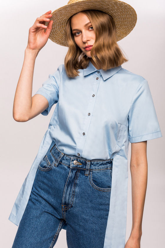 Asymmetrical cotton shirt