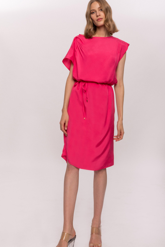 Viscose asymmetrical sleeves dress with waist string