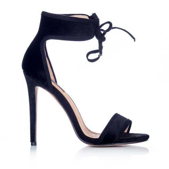 Sznurowane czarne zamszowe sandały