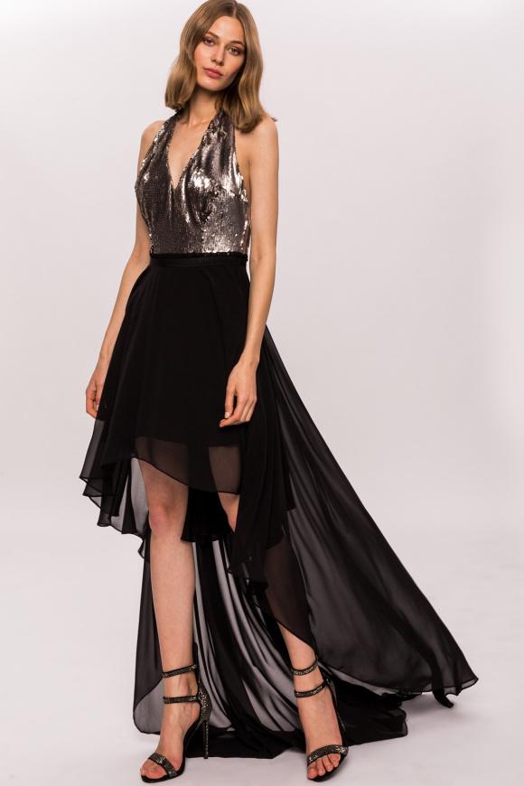 Asymetryczna sukienka z cekinową górą