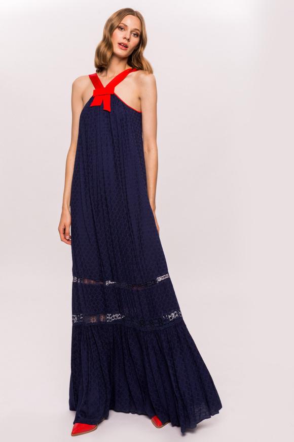 Sukienka maxi z długimi szelkami