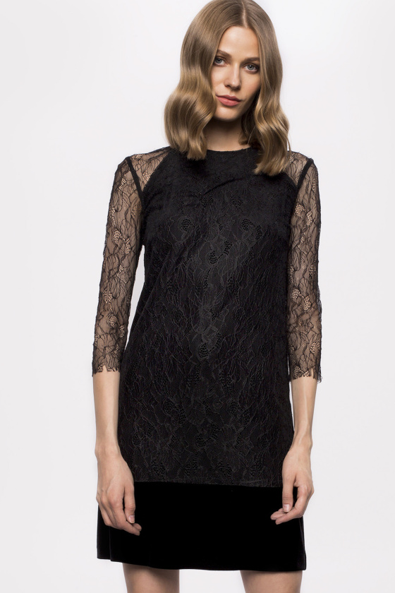 Lace sleeves velvet dress