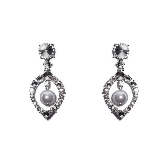 Kolczyki ze sztucznymi perłami i kryształami