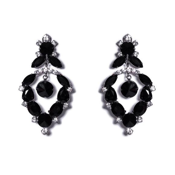 Eleganckie kolczyki z czarnymi kryształkami