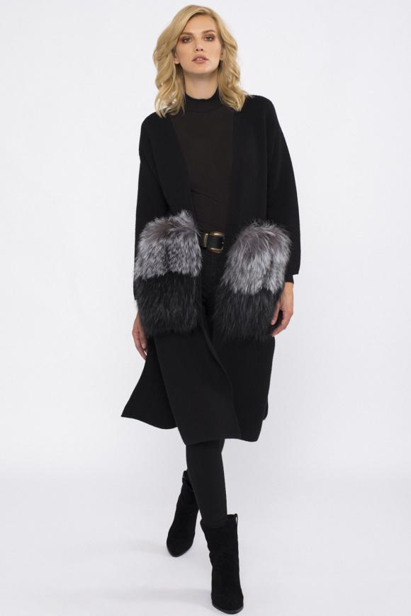 Długa kurtka z kieszeniami z naturalnym futrem