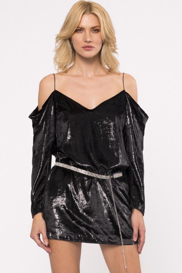 Aksamitna sukienka z cekinami i wycięciami na ramionach