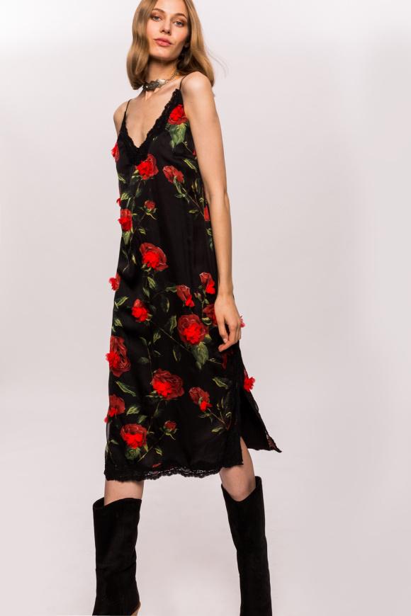 Sukienka na ramiączkach z kwiatowymi detalami 3D