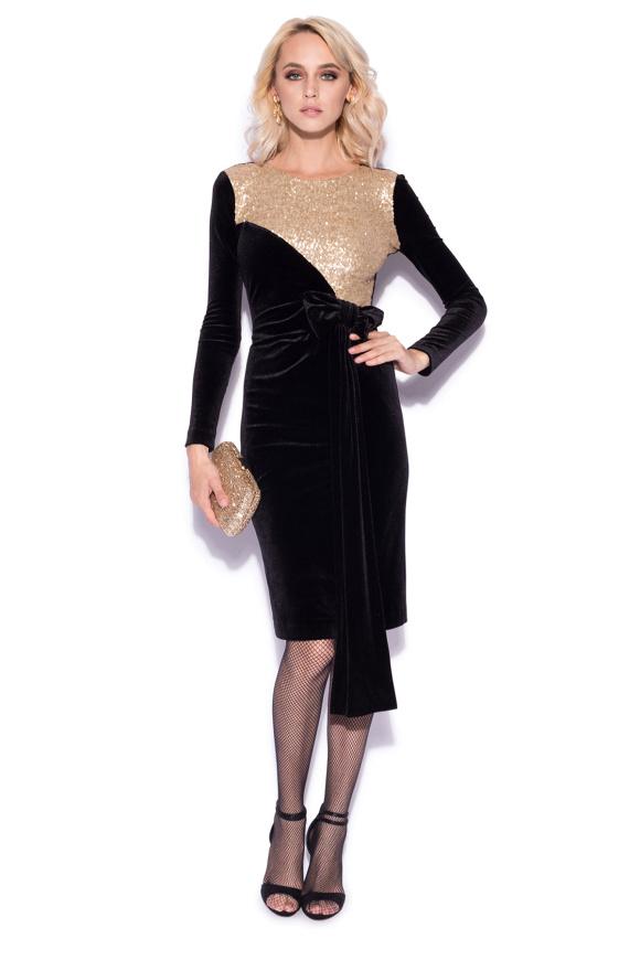 Velvet dress with gold sequin bust