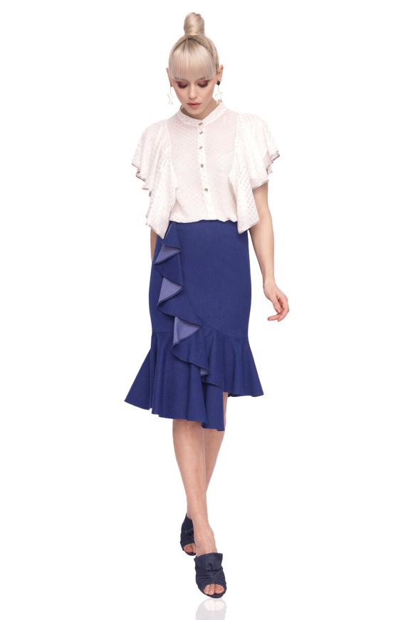 Jeansowa sukienka z falbankami