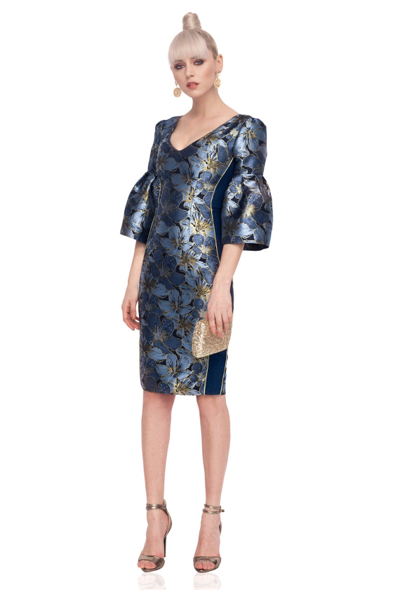 Brocade dress with bell sleeves