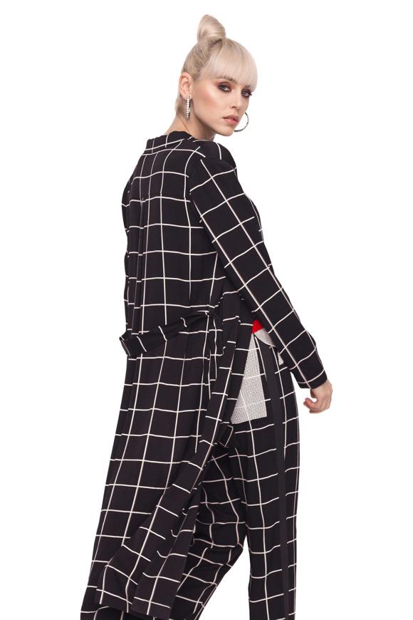 Długa kurtka z geometrycznym nadrukiem