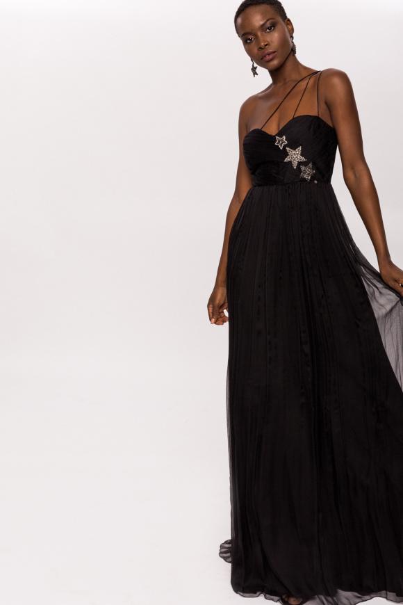 Elegancka sukienka z gwiaździstymi detalami