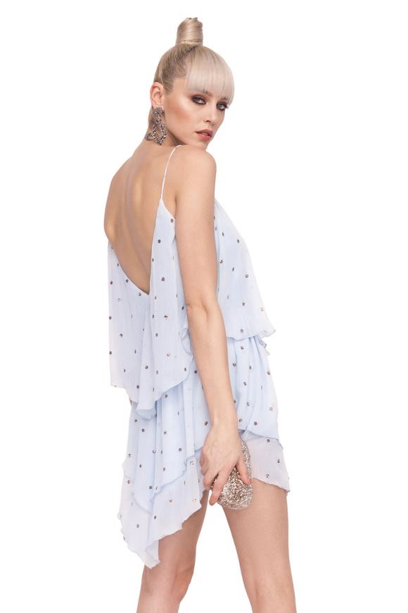 Asymetryczna mini sukienka z metalicznymi kołami