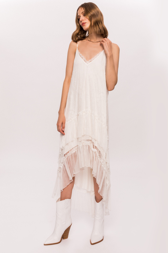 Silk dress with lace and ruffles
