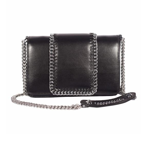 Skórzana torebka z łańcuchową wstawką