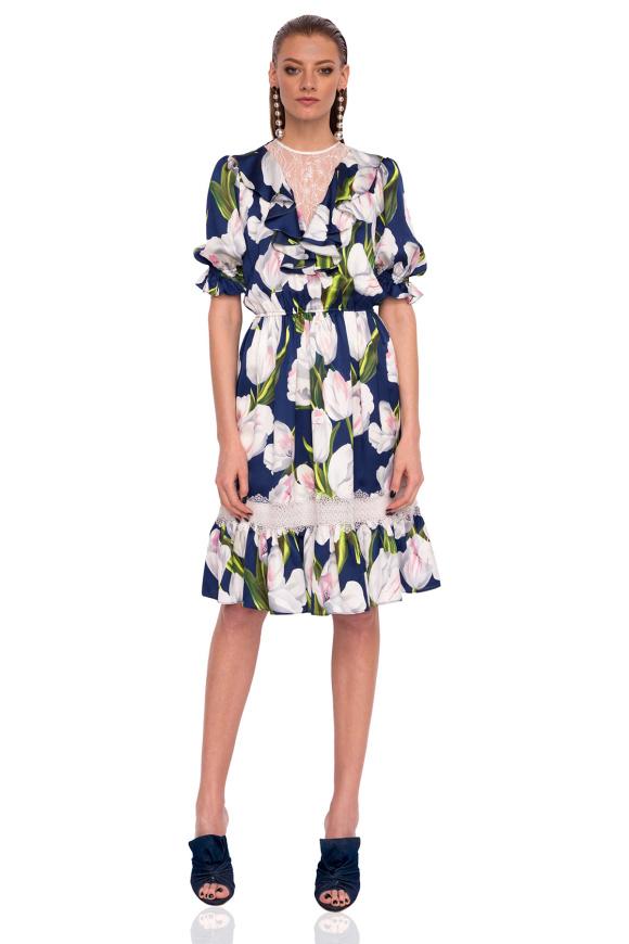 Sukienka dzienna z nadrukiem tulipana i koronkowymi detalami