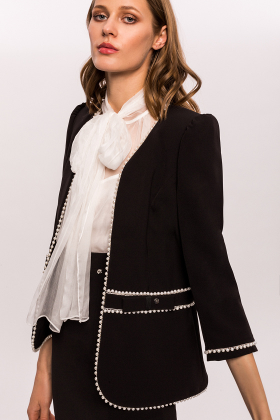 Office blazer with pearl details