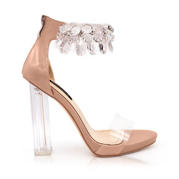 Beżowe sandały z przezroczystym obcasem