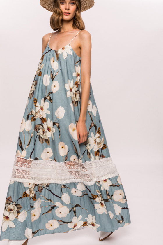 Linen floral print and lace dress