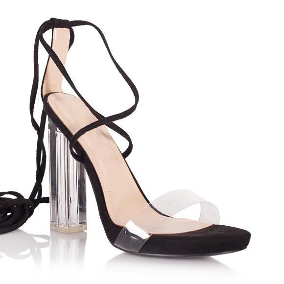 Sandały z przezroczystym obcasem