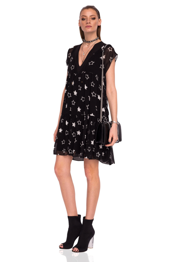 Viscose dress with star print