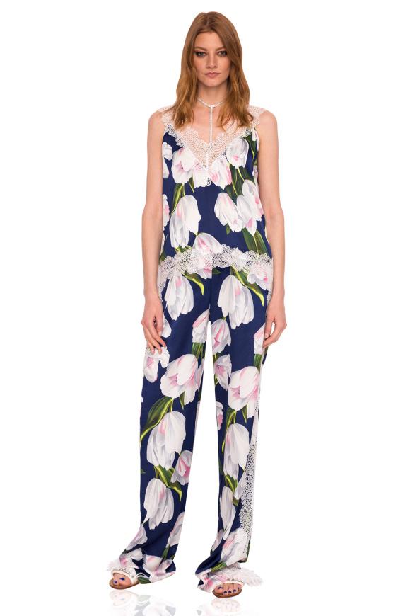 Luźne spodnie z nadrukiem tulipana