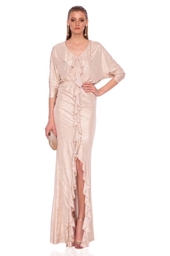 Metaliczna sukienka z falbankami
