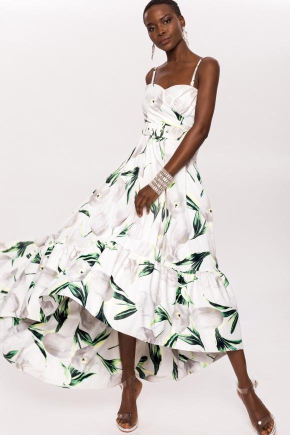 Asymetryczna sukienka z nadrukiem i paskiem w talii