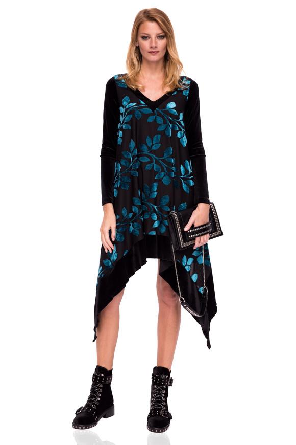 Aksamitna asymetryczna sukienka z nadrukiem liści