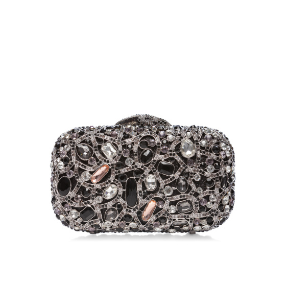 Metaliczna kopertówka z kryształami