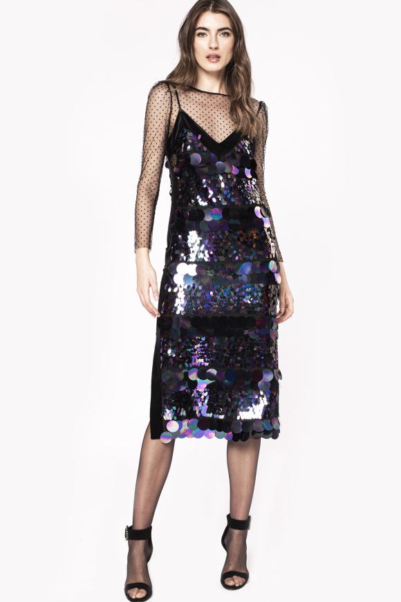 Velvet details sequinned slip dress
