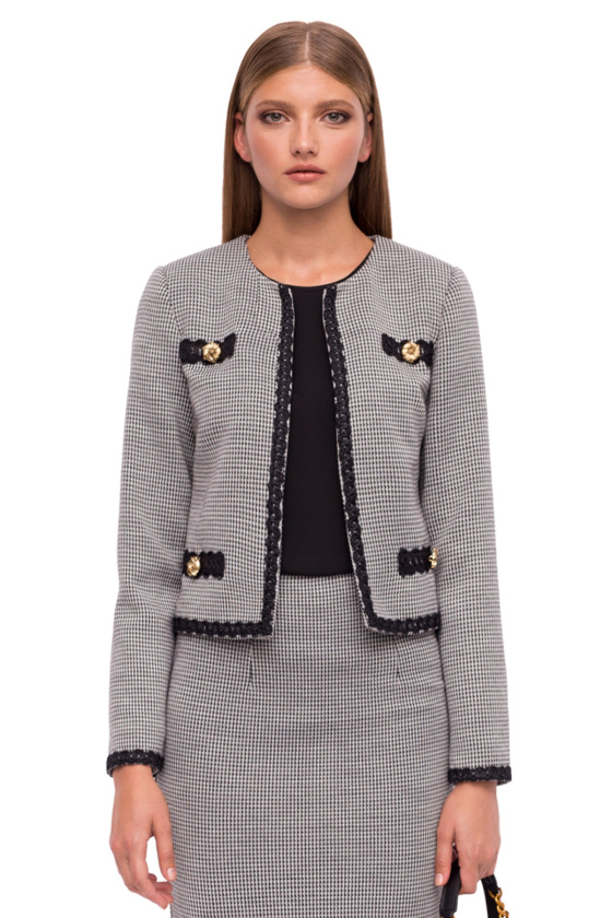 Office jacket with embroidered details