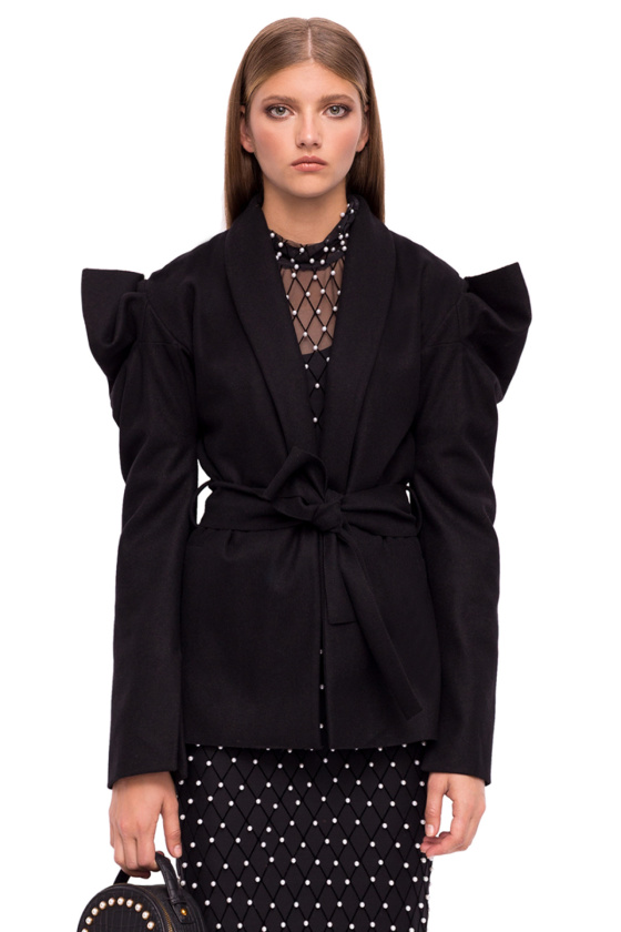 Wool jacket with structured shoulders and waistcord