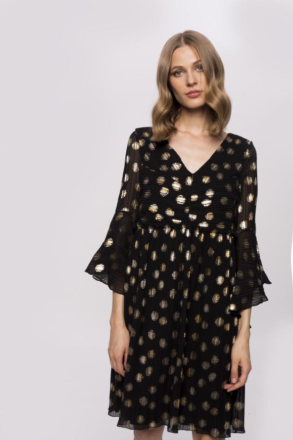 Luźna sukienka ze złotym nadrukiem i motylkowymi rękawami