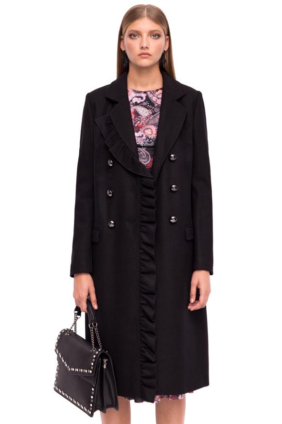 Płaszcz z dekoltem w kształcie litery V i metalicznymi guzikami