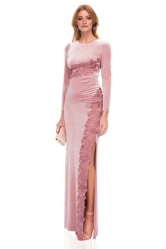 Aksamitna długa elegancka sukienka