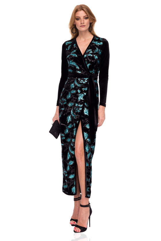 Velvet wrap floral sequins detail dress with long sleeves