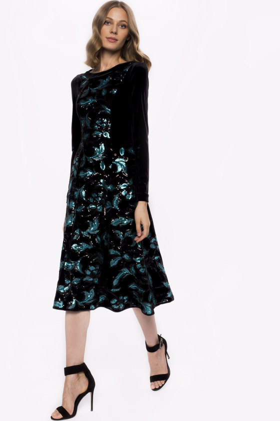 Velvet floral sequins detail dress and long sleeves