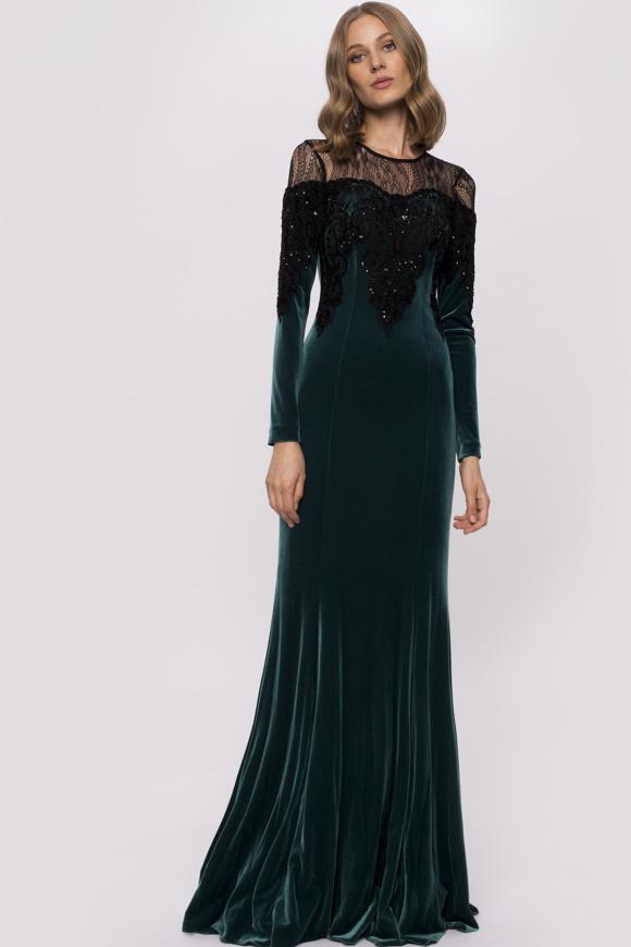 Aksamitna sukienka z koronkowymi detalami i cekinami
