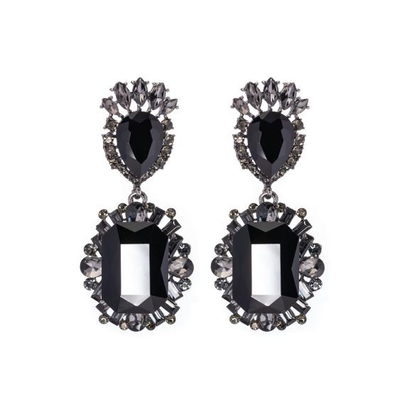 Czarne kolczyki z kryształkami