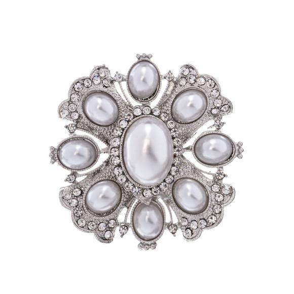 Broszka z kamieniami i perłowymi detalami