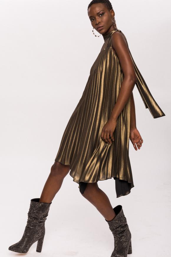 Shining epaulettes metallic asymmetric dress